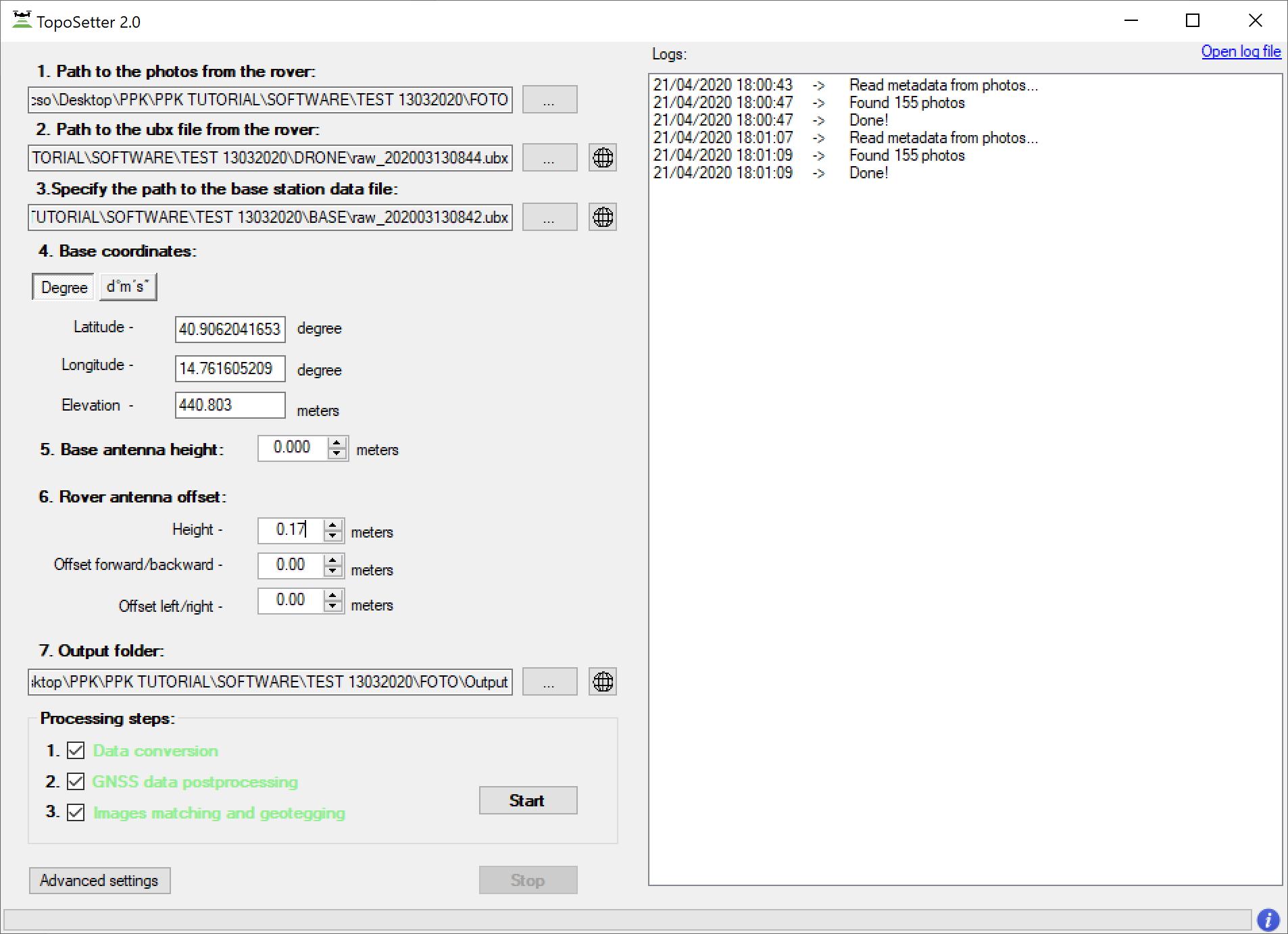 Dati Rinex e UBX registrati